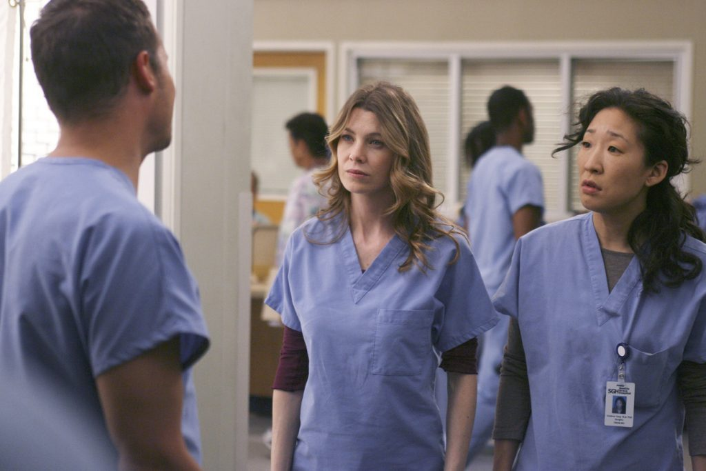 Justin Chambers, Ellen Pompeo, and Sandra Oh of 'Grey's Anatomy'