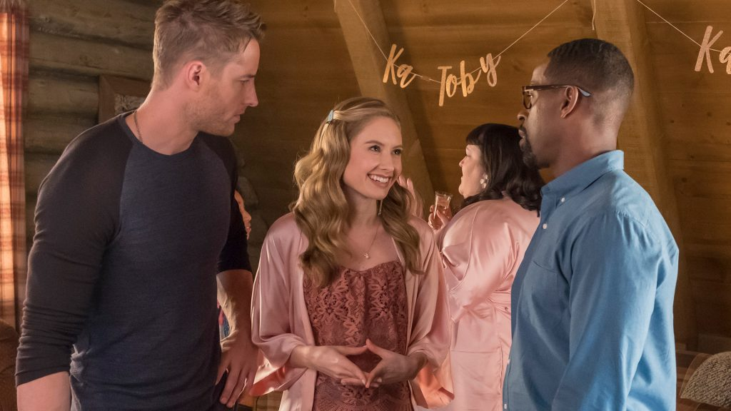 Justin Hartley as Kevin, Caitlin Thompson as Madison, and Sterling K. Brown as Randall on 'This Is Us' Season 2