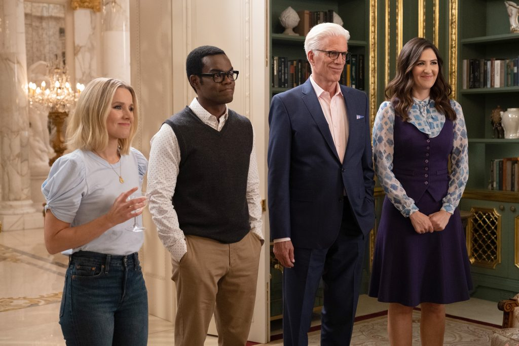 Kristen Bell, William Jackson Harper, Ted Danson, and D'Arcy Carden in 'The Good Place'