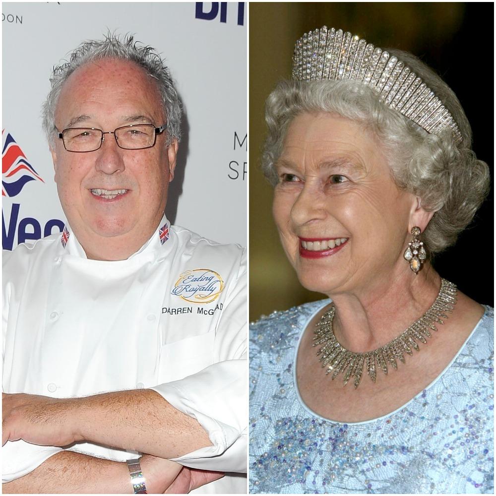 (L) Chef Darren McGrady, (R) Queen Elizabeth II