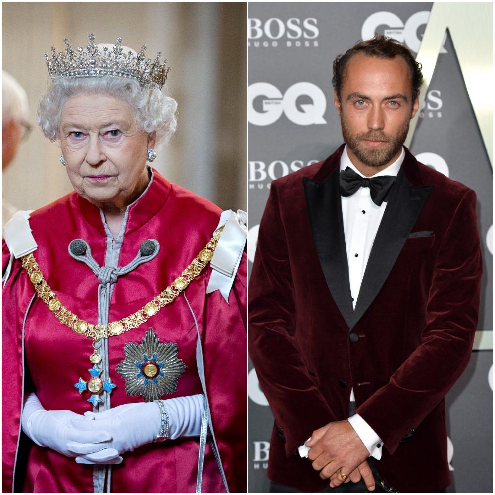 (L) Queen Elizabeth II, (R) James Middleton