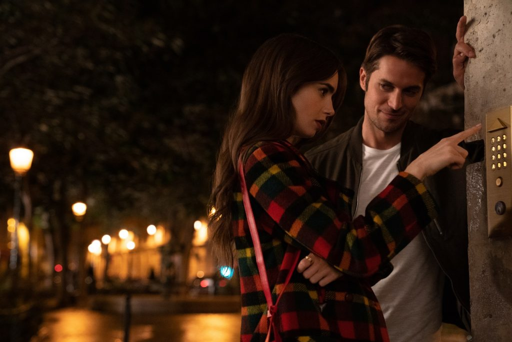 Lily Collins and Lucas Bravo in
