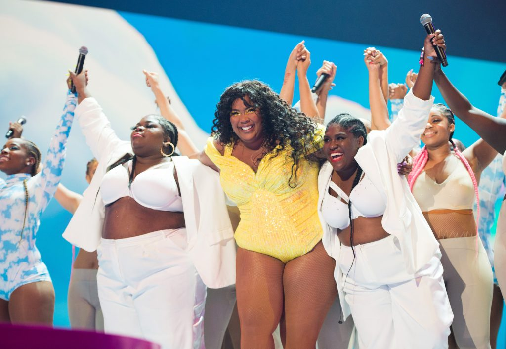 Lizzo onstage during the 2019 MTV VMAs