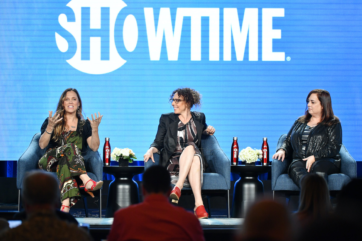 """Heidi Ewing, Rachel Grady and Tracy of """"Love Fraud"""" speak during the Showtime segment of the 2020 Winter TCA Press Tour"""