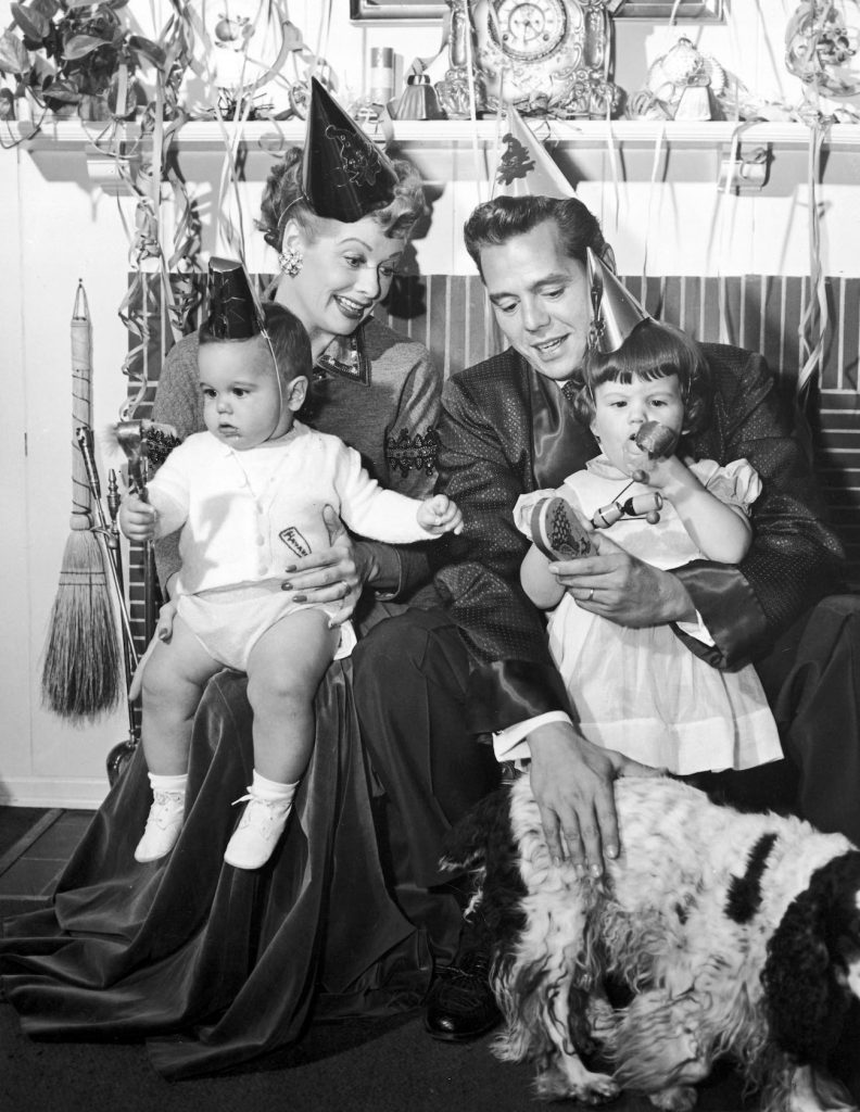 Lucille Ball and Desi Arnaz with their two children, Desi Jr. and Lucie