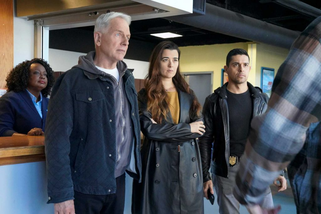 Mark Harmon, Cote de Pablo, and Wilmer Valderrama on the set of NCIS | Bill Inoshita/CBS via Getty Images