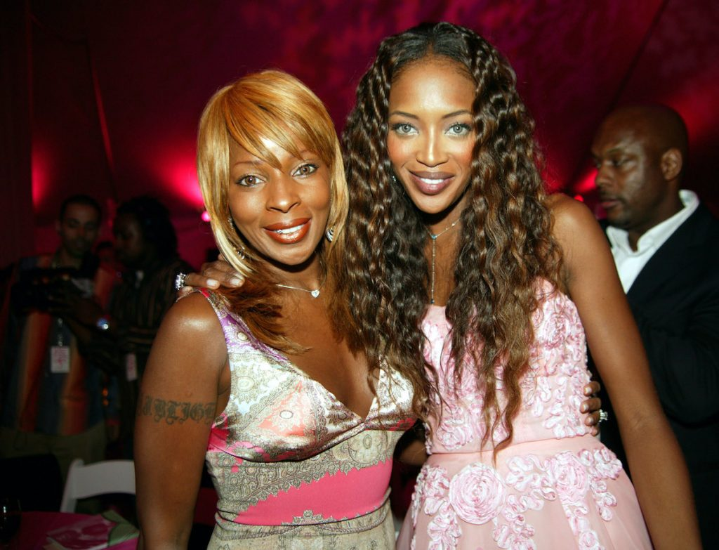 Mary J. Blige and Naomi Campbell during ART FOR LIFE Benefit - July 24, 2004 at East Hampton Estate in New York City, New York, United States