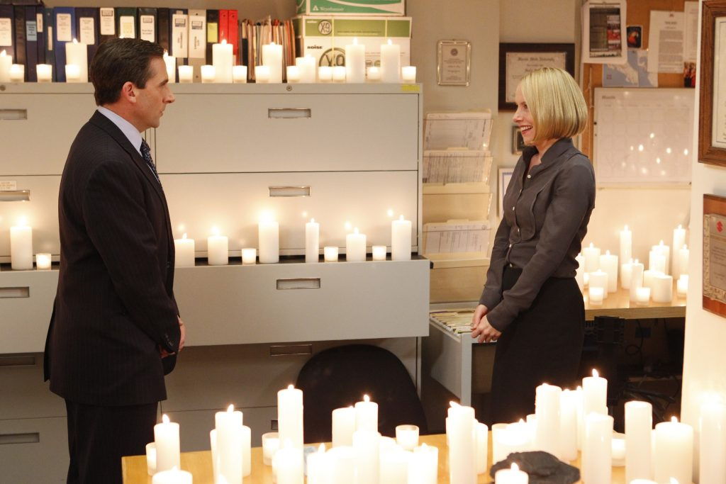 Steve Carell as Michael Scott and Amy Ryan as Holly Flax