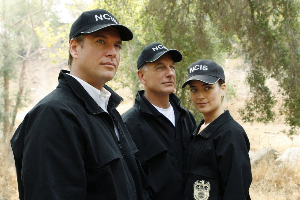 Michael Weatherly, Mark Harmon, and Cote de Pablo of NCIS