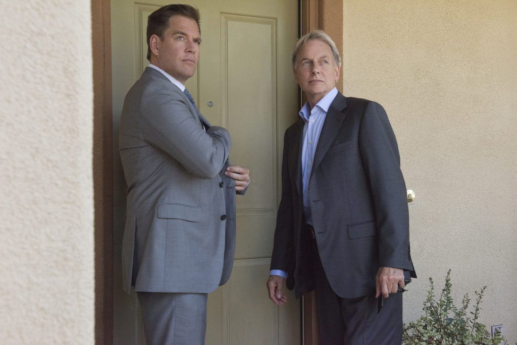 Michael Weatherly and Mark Harmon on the set of NCIS    Colleen Hayes/CBS via Getty Images