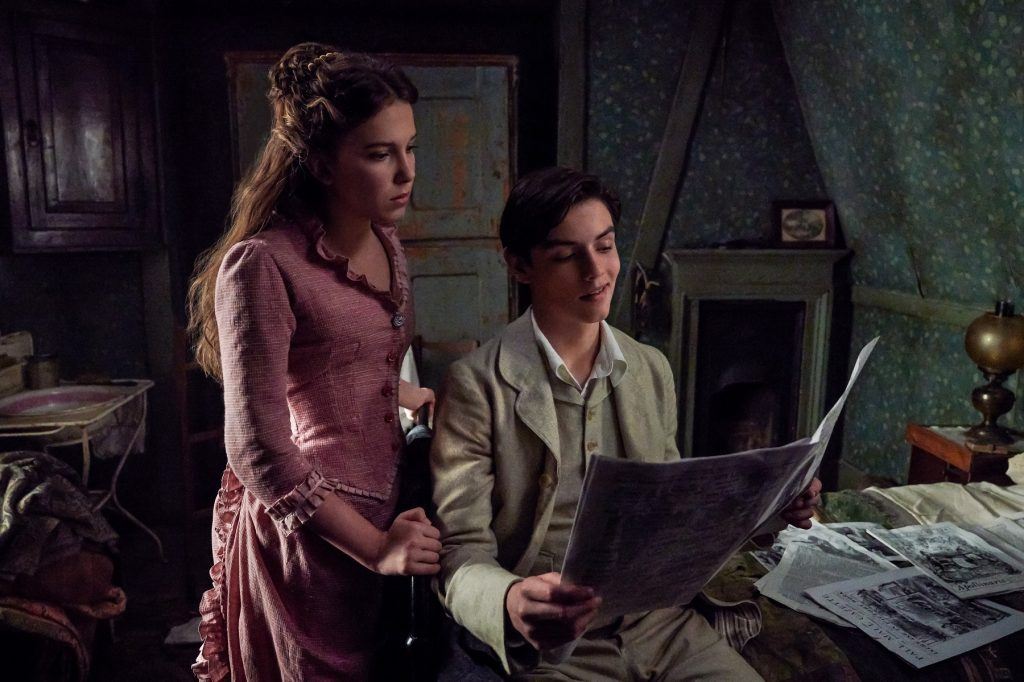 Millie Bobby Brown and Louis Partridge in 'Enola Holmes'