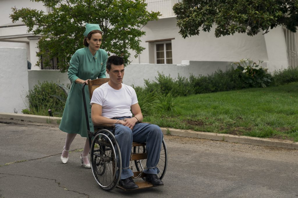 SARAH PAULSON as MILDRED RATCHED and FINN WITTROCK as EDMUND TOLLESON
