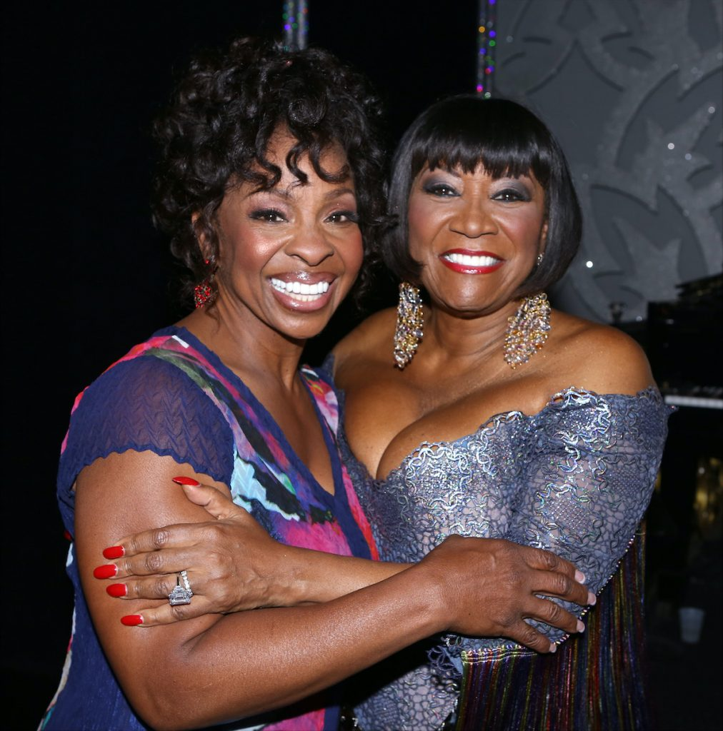 Gladys Knight and Patti LaBelle backstage after Patti Labelle's debut in 'After Midnight'
