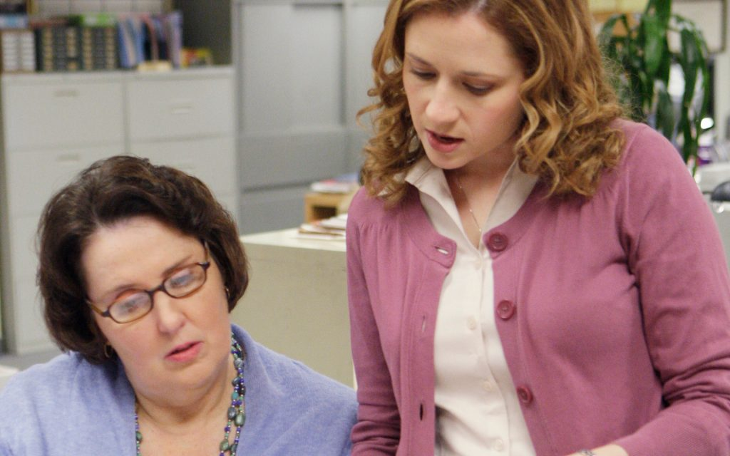 Phyllis Smith as Phyllis Lapin, Jenna Fischer as Pam Beesly on 'The Office'