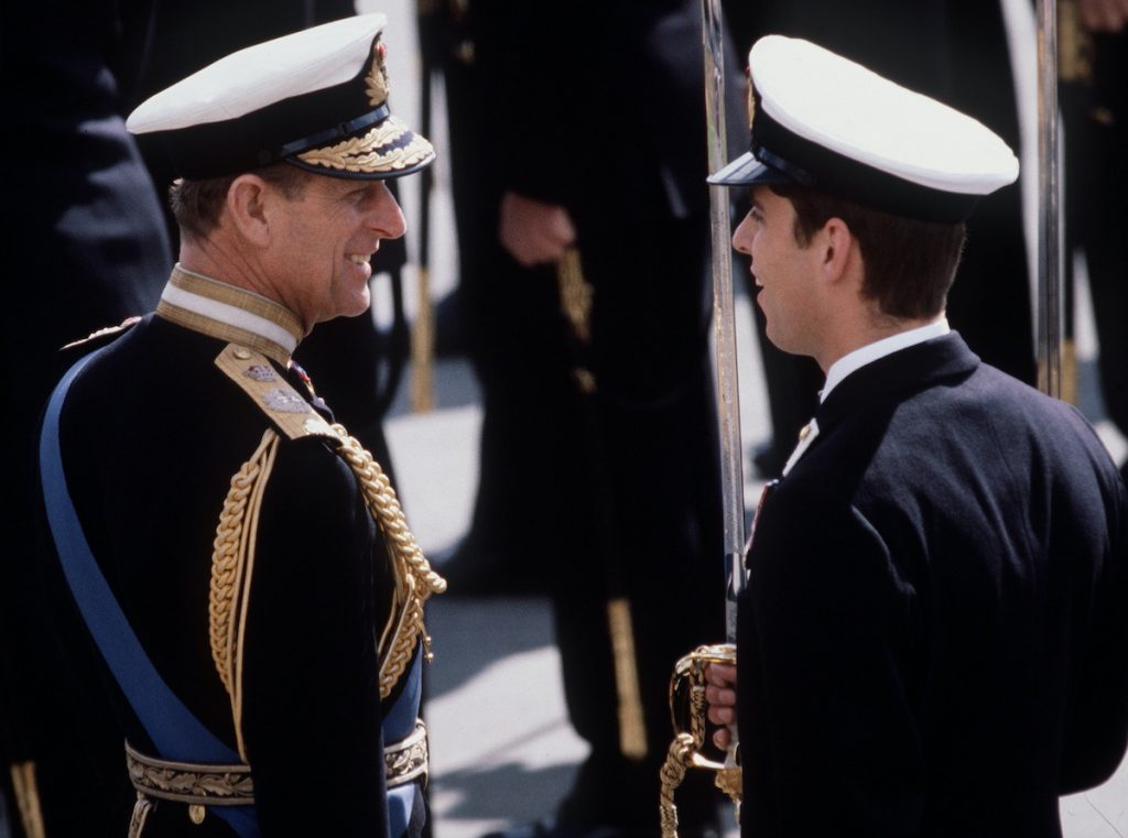 Prince Philip In Naval Uniform Of Admiral Of The Fleet Joking With Prince Andrew While Inspecting The Passing Out Parade At Dartmouth Royal Naval College In Which His Son Is Taking Part.