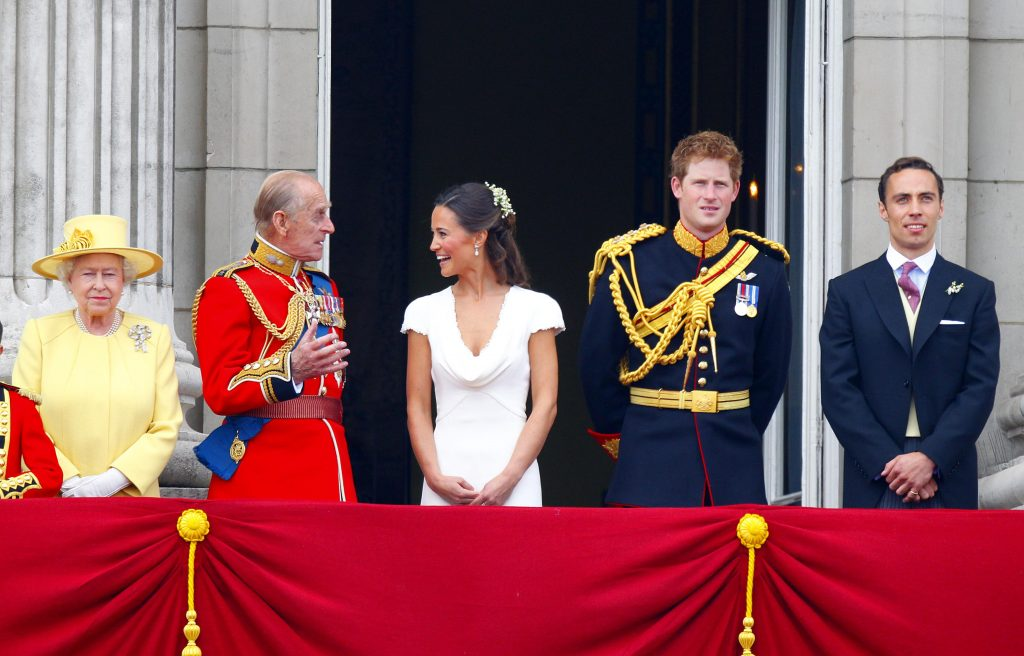 Queen Elizabeth II,  Prince Philip, Pippa Middleton, Prince Harry, and James Middleton