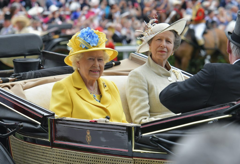 Queen Elizabeth II and Princess Anne, Princess Royal arrive on day 1 of Royal Ascot at Ascot Racecourse on June 19, 2018 in Ascot, England