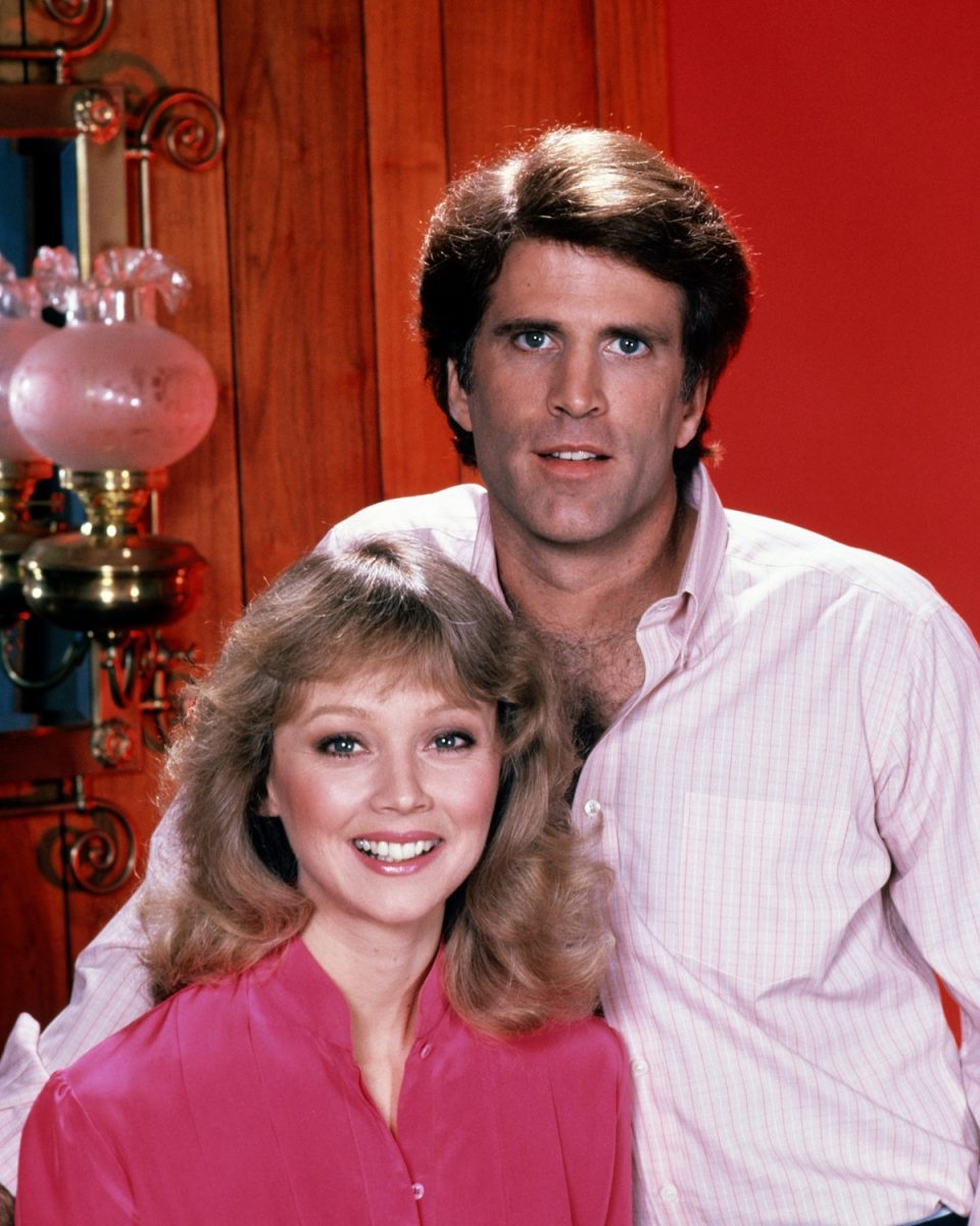 Ted Danson as Sam Malone and Shelley Long as Diane Chambers in the TV sitcom 'Cheers'