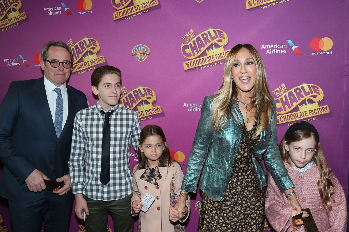 Matthew Broderick, James Wilkie Broderick, Tabitha Hodge Broderick, Sarah Jessica Parker and Marion Loretta Elwell Broderick attend the 'Charlie And The Chocolate Factory'