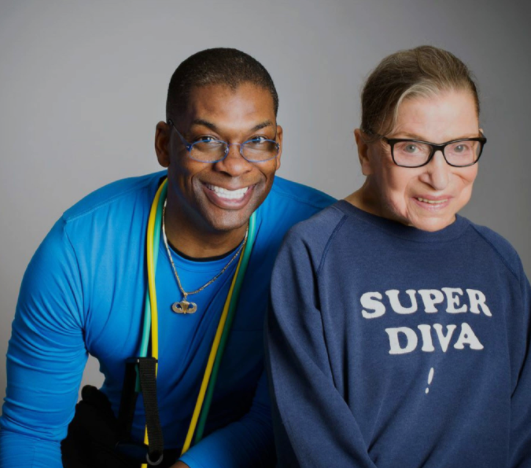 Supreme Court Justice Ruth Bader Ginsburg, right, and her personal trainer Bryant Johnson