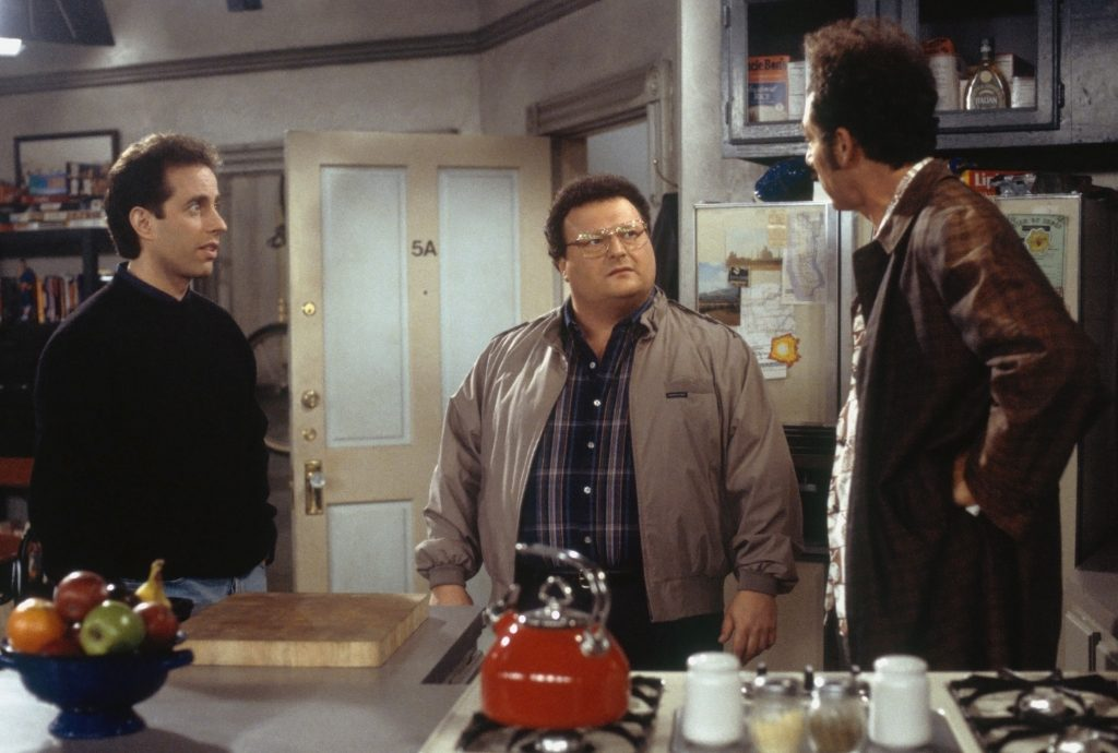 Jerry Seinfeld as Jerry Seinfeld, Wayne Knight as Newman and Michael Richards as Cosmo Kramer