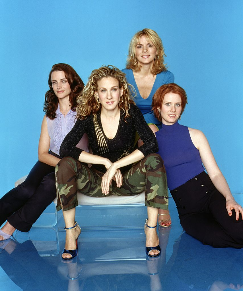 Kristin Davis, Sarah Jessica Parker, Kim Cattrall and Cynthia Nixon in promoitional photos for 'Sex and the City'