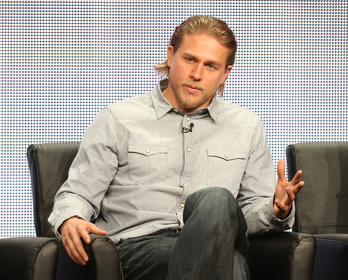 """Charlie Hunnam speaks onstage during the """"Sons of Anarchy"""" panel discussion at the FX portion of the 2013 Summer Television Critics Association tour - Day 10 at The Beverly Hilton Hotel on August 2, 2013"""
