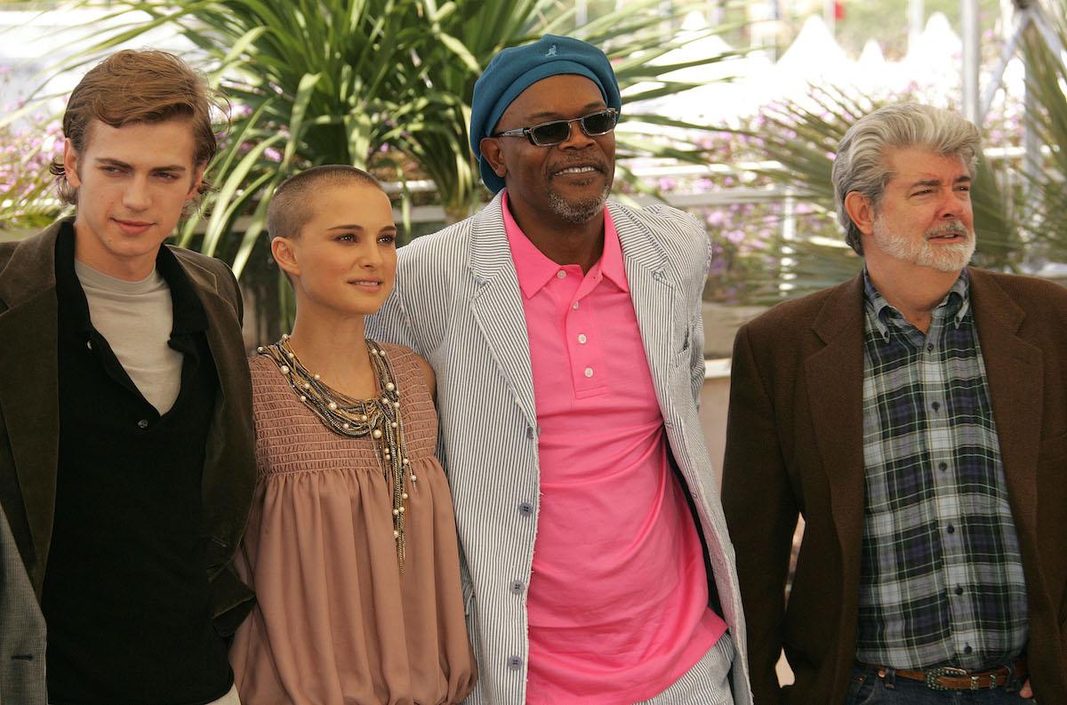 Hayden Christensen, Natalie Portman, Samuel L. Jackson, and George Lucas