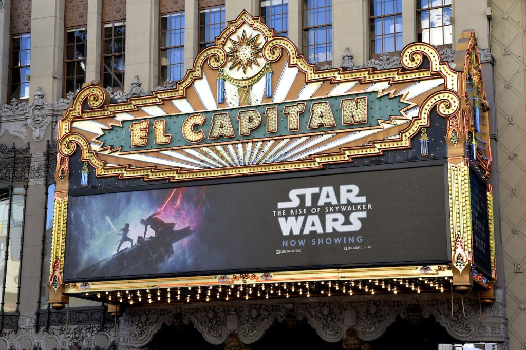 "Exterior shot of the marquee of ""Star Wars: The Rise Of Skywalker"" at the El Capitan Theater"