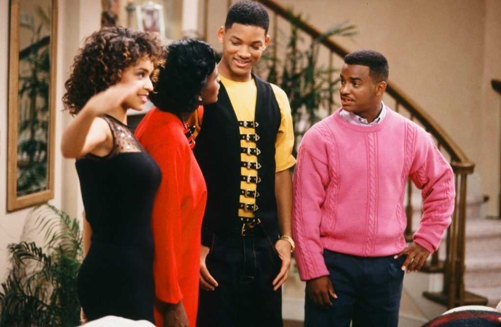 Karyn Parsons as Hilary Banks, Janet Hubert as Vivian Banks, Will Smith as William 'Will' Smith, and Alfonso Ribeiro as Carlton Banks