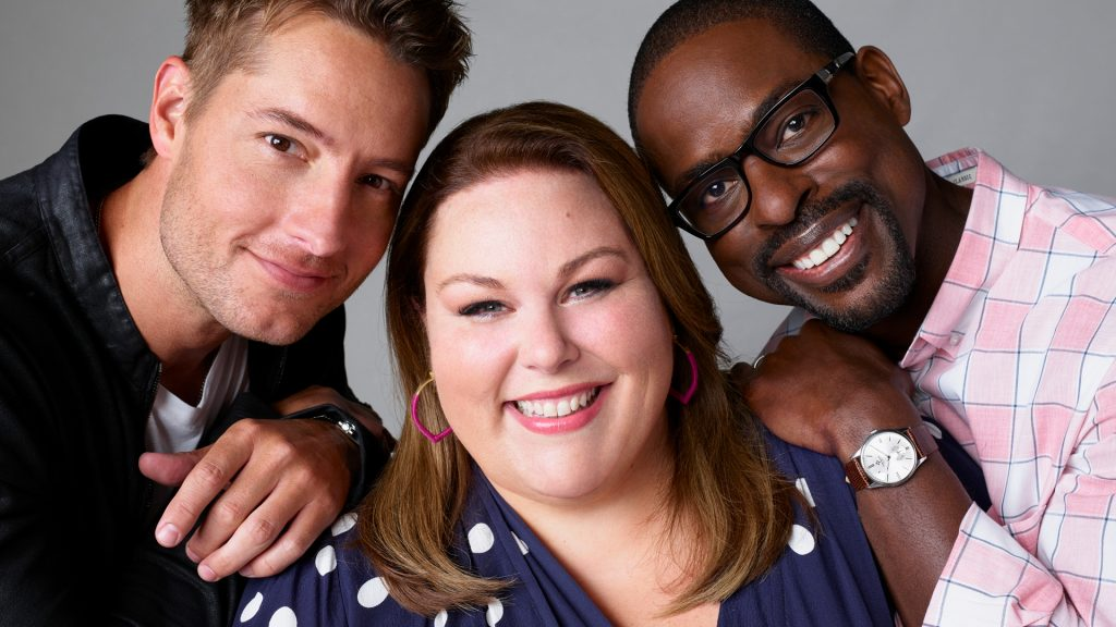 Justin Hartley as Kevin Pearson, Chrissy Metz as Kate Pearson, Sterling K. Brown as Randall Pearson on 'This Is Us'