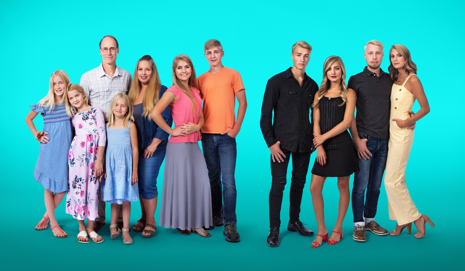 Group photo of the Plath family on a teal background.