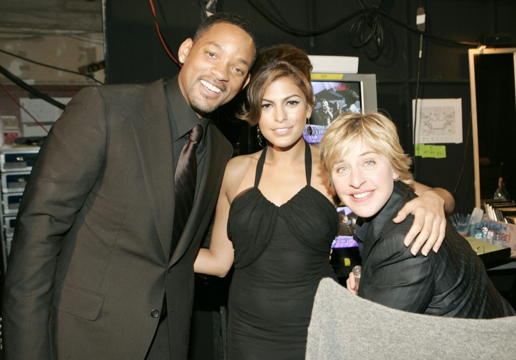 Will Smith, Eva Mendes and Ellen DeGeneres during 31st Annual People's Choice Awards