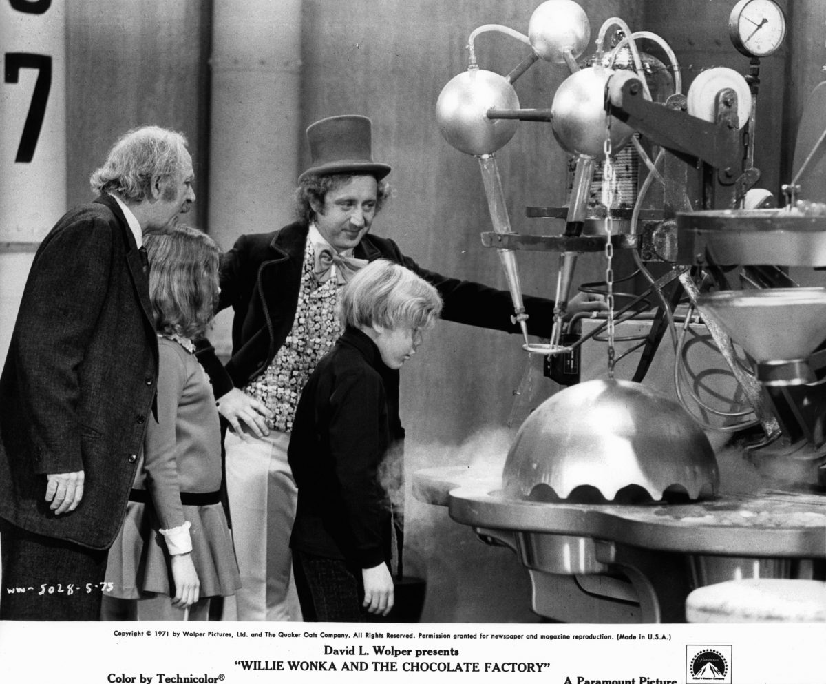 Grandpa Joe, Willy Wonka and Charlie Bucket in 'Willy Wonka and the Chocolate Factory'