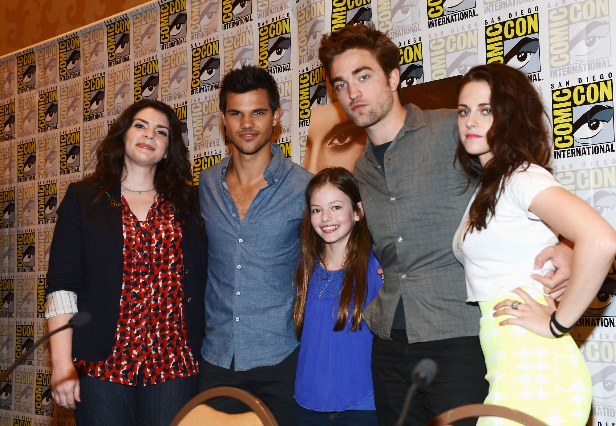 Stephenie Meyer, Taylor Lautner, Mackenzie Foy, Robert Pattinson, and Kristen Stewart at 'The Twilight Saga: Breaking Dawn Part 2' panel at San Diego Comic-Con on July 12, 2012.