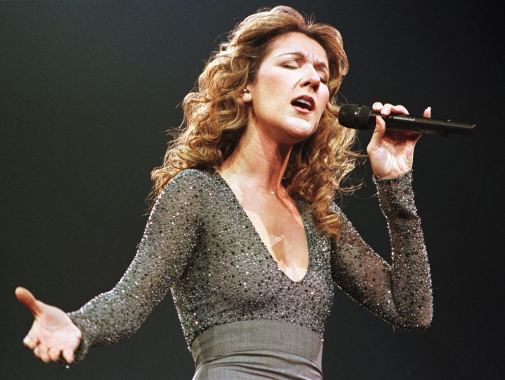 Celine Dion with a microphone