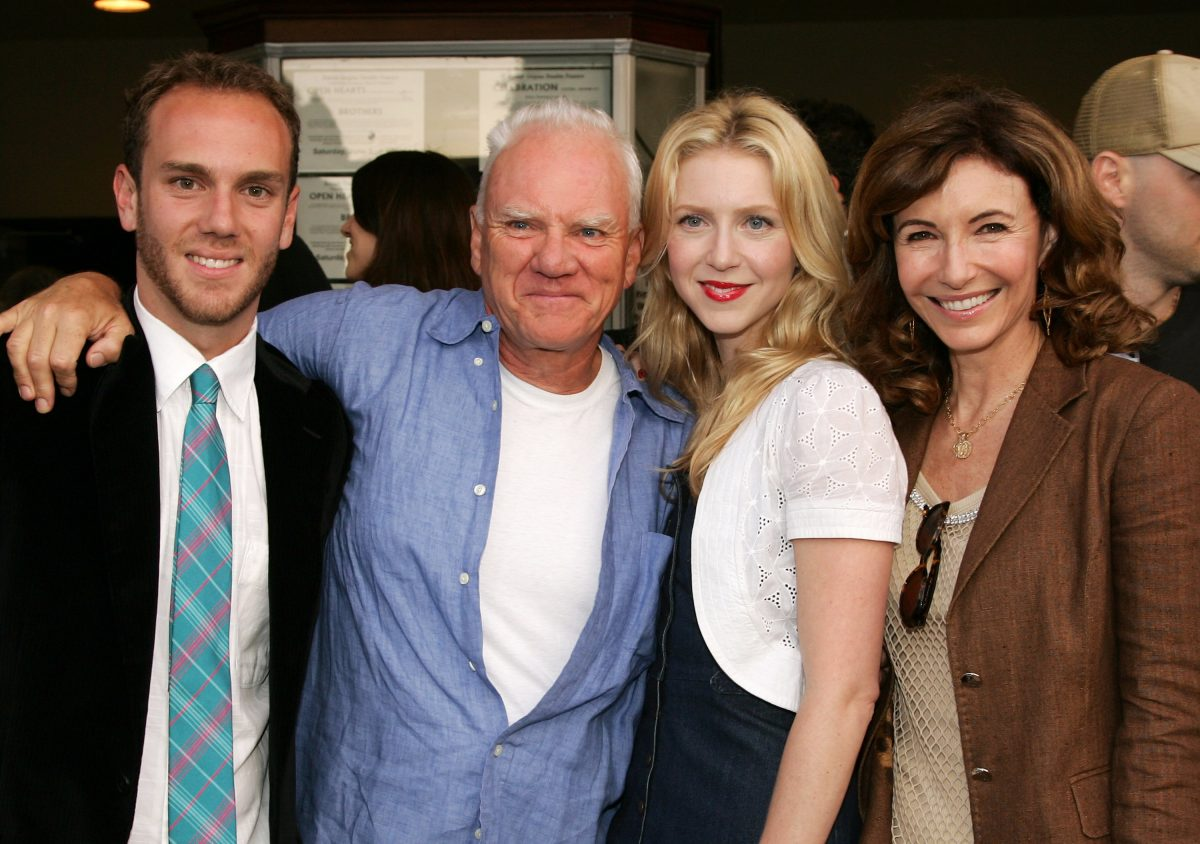 Malcolm McDowell (C) and ex-wife Mary Steenburgen (R) pose with their son Charlie McDowell and daughter Lilly McDowell at the premiere of the short film 'Bye Bye Benjamin' on June 5, 2006