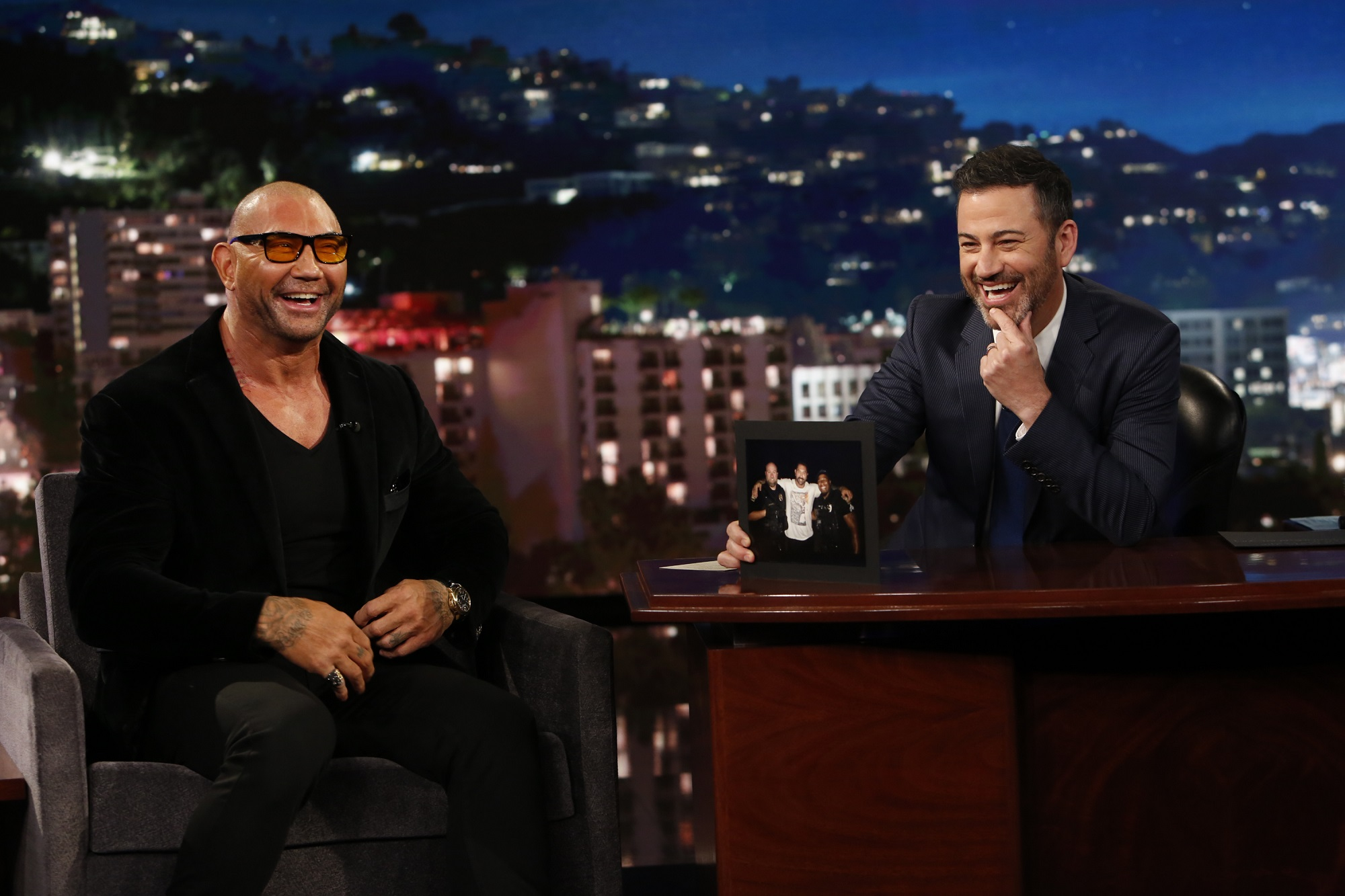 Dave Bautista and Jimmy Kimmel