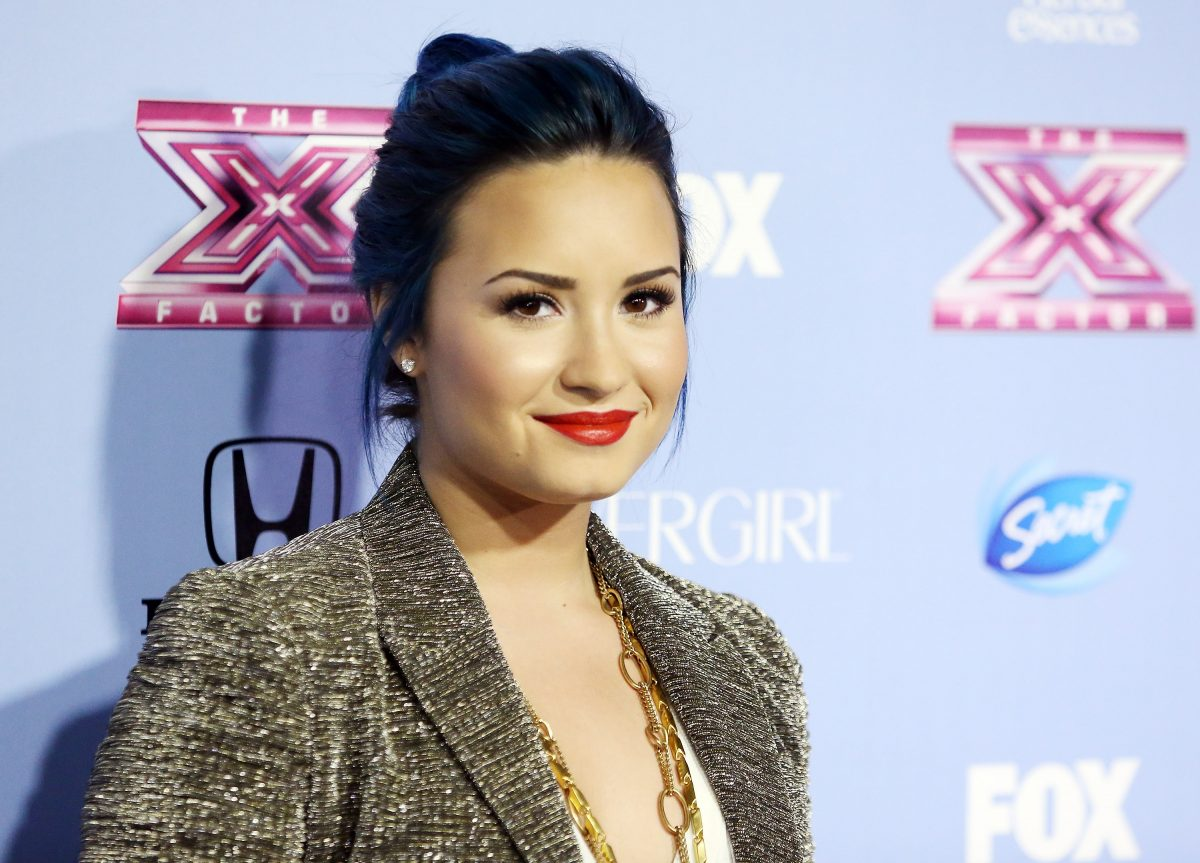 Demi Lovato arrives at 'The X Factor' finalists party on November 4, 2013 in Los Angeles, California.