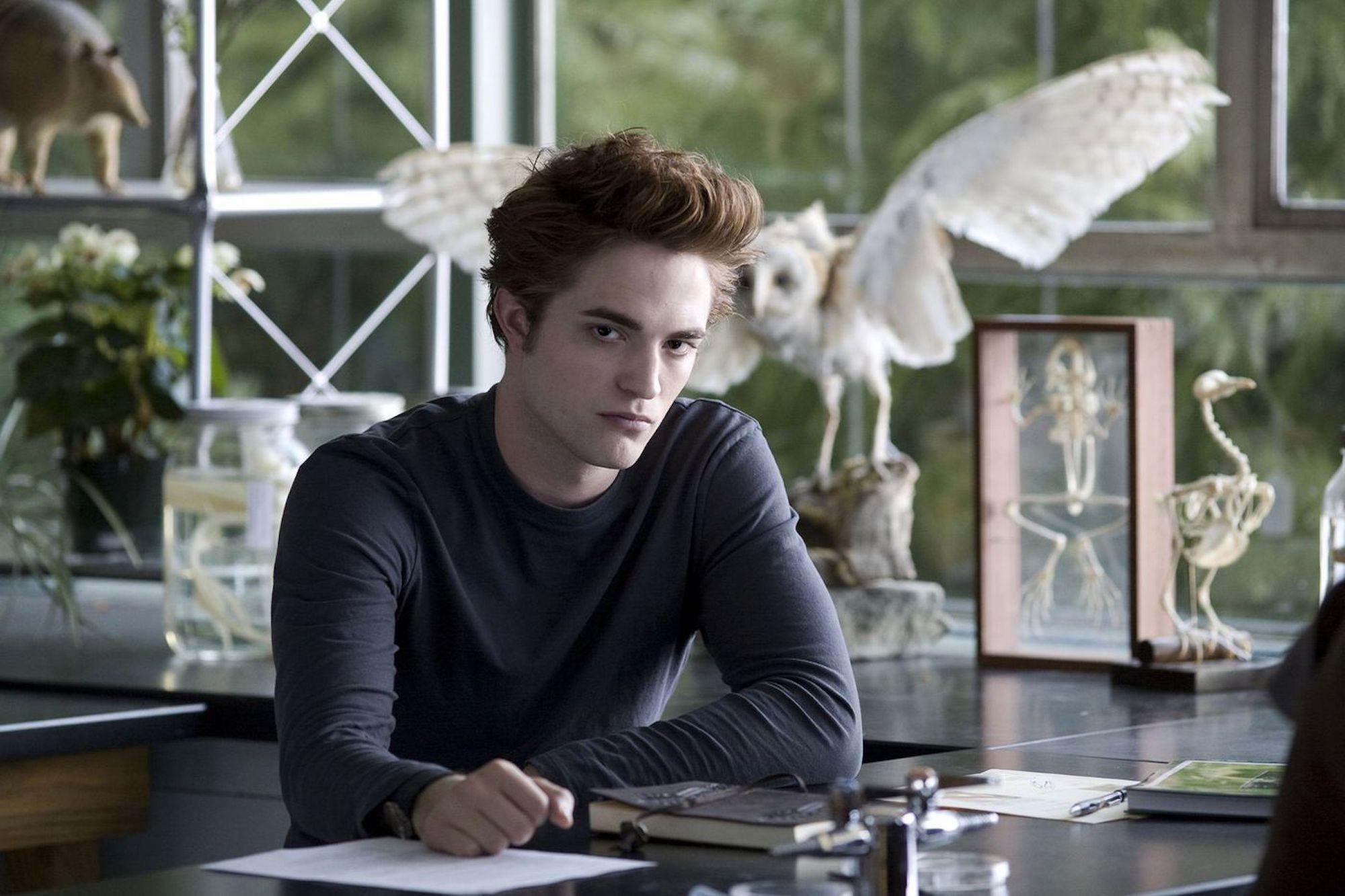Edward Cullen (Robert Pattinson) during Bella's first biology class in 'Twilight.'