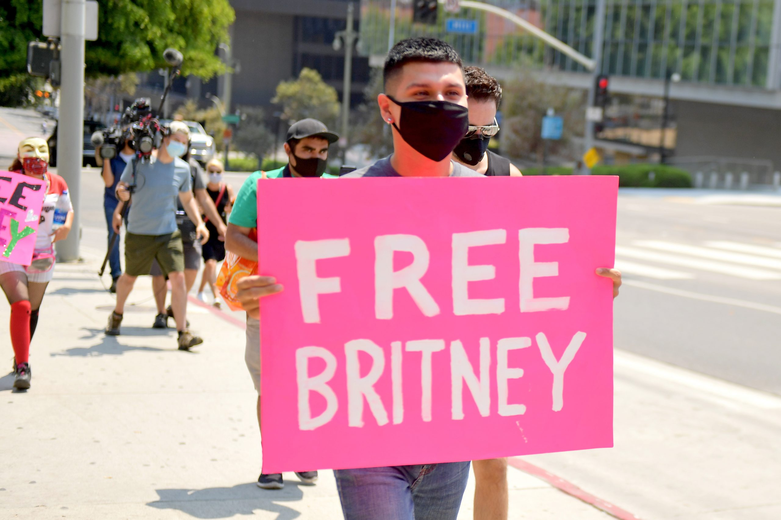 #FreeBritney protestors outside the courthouse during a status hearing  for Britney Spears' conservatorship