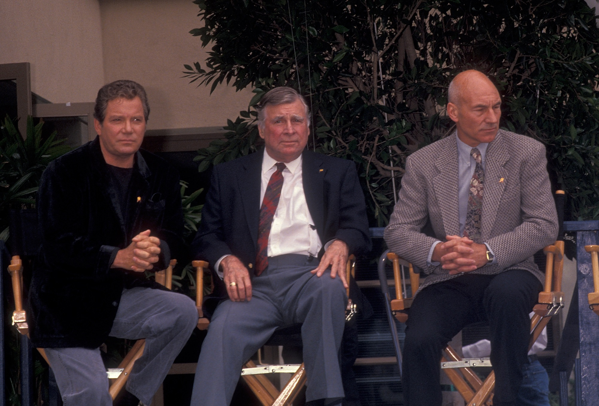 William Shatner, Gene Roddenberry, and Patrick Stewart of Star Trek