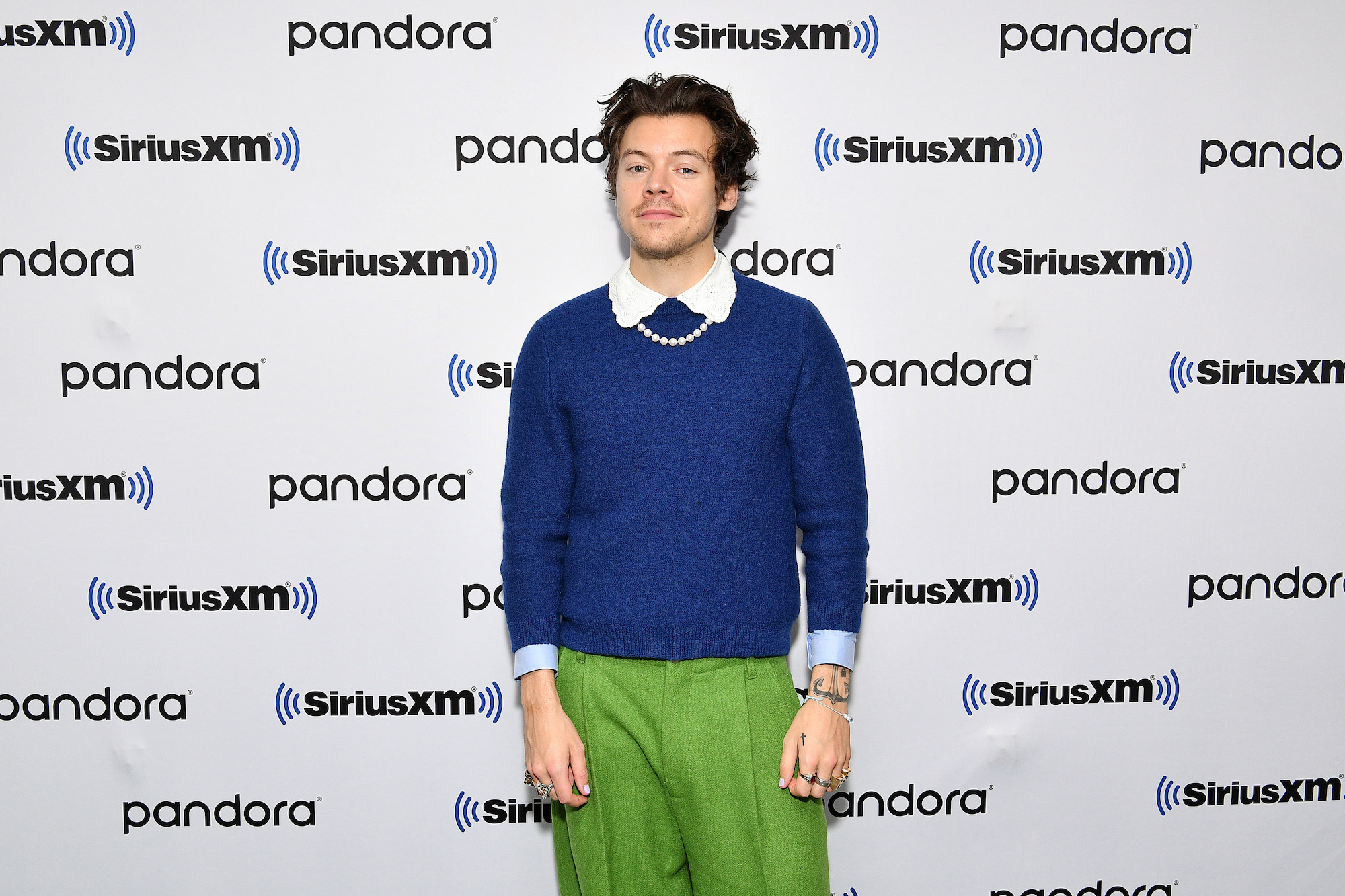 Harry Styles at SiriusXM Studios on March 02, 2020 in New York City for 'The Howard Stern Show.'