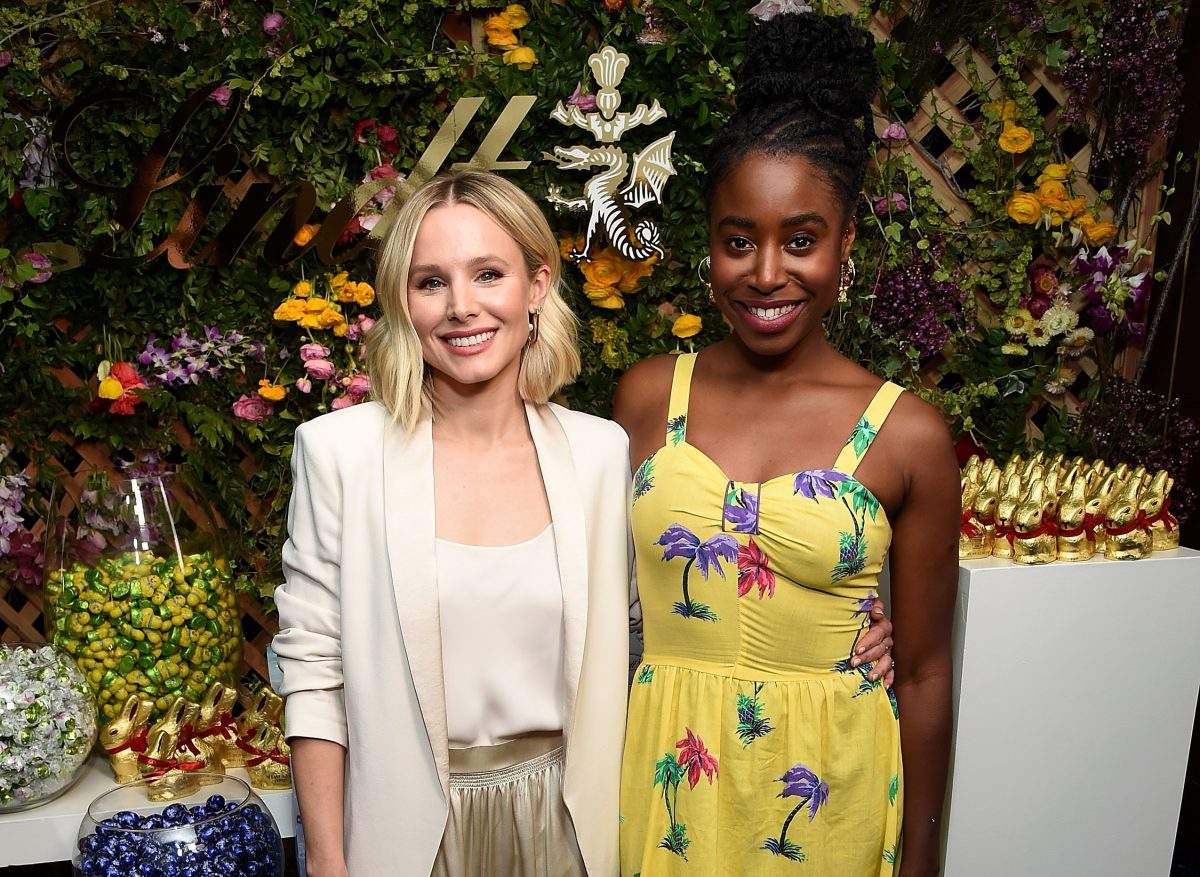Kristen Bell (L) and Kirby Howell-Baptiste at a Lindt Chocolate Easter Luncheon with Kristen Bell and friends at Sunset Tower on April 1, 2019 in Los Angeles, California.