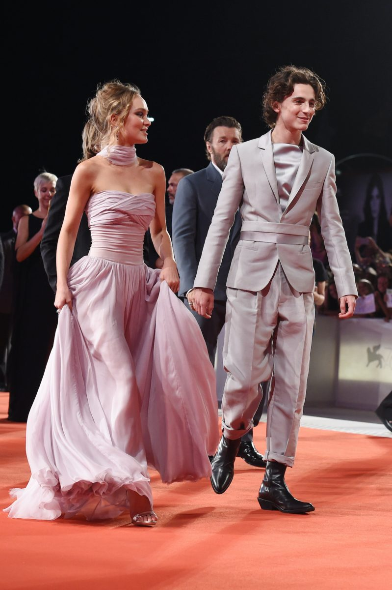Lily-Rose Depp and Timothee Chalamet attend 'The King' red carpet