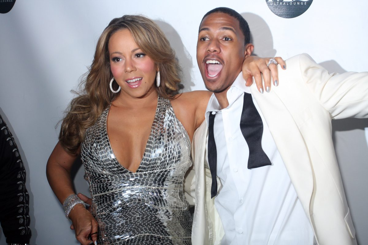 Mariah Carey and Nick Cannon attend New Year's Eve at M2 Ultra Lounge on December 31, 2009, in New York City.