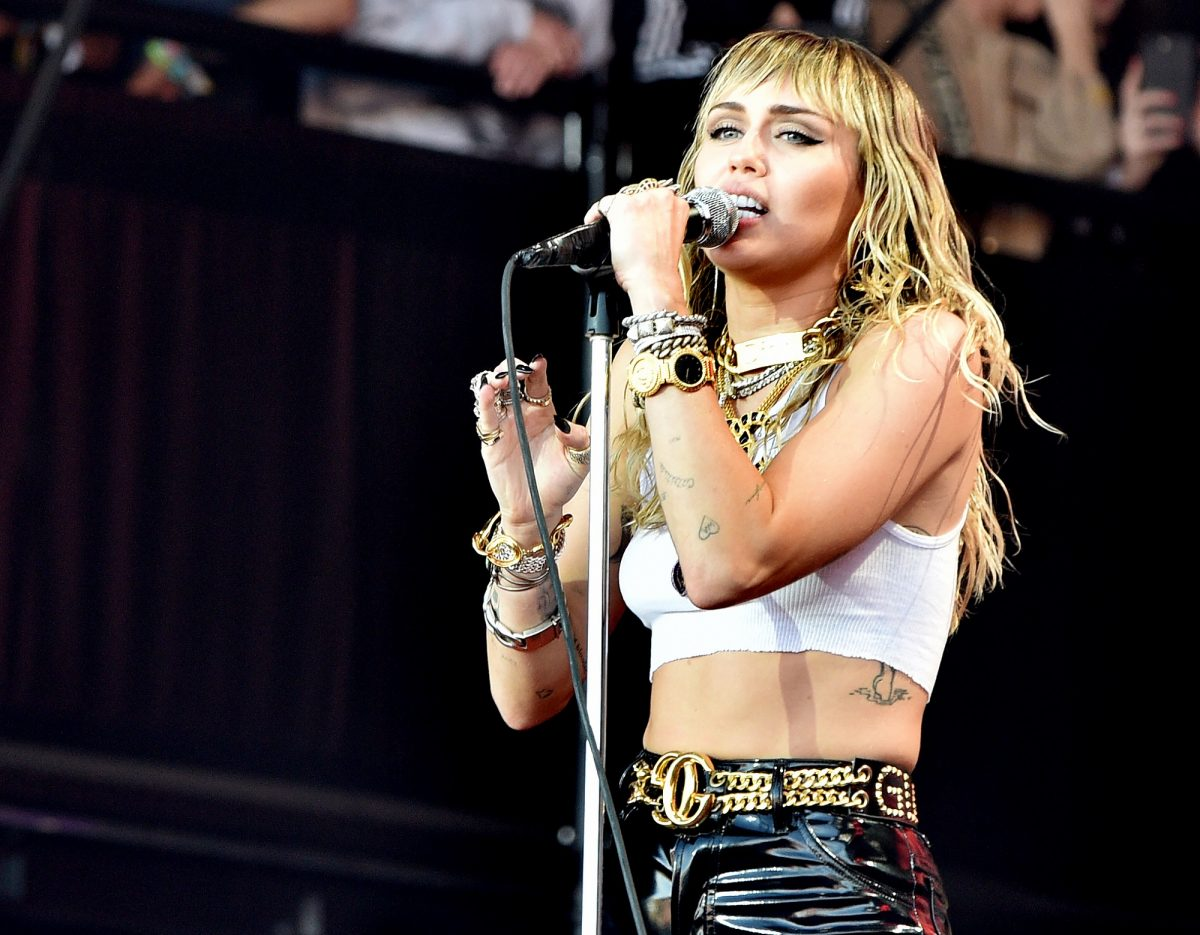 Miley Cyrus performs on The Pyramid Stage during day five of Glastonbury Festival on June 30, 2019 in Glastonbury, England.