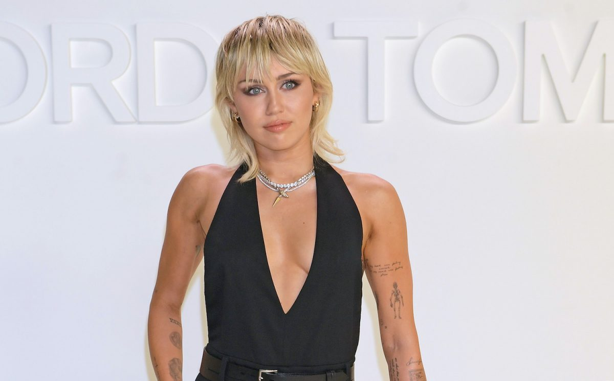 Miley Cyrus attends the Tom Ford AW20 show at Milk Studios on February 7, 2020