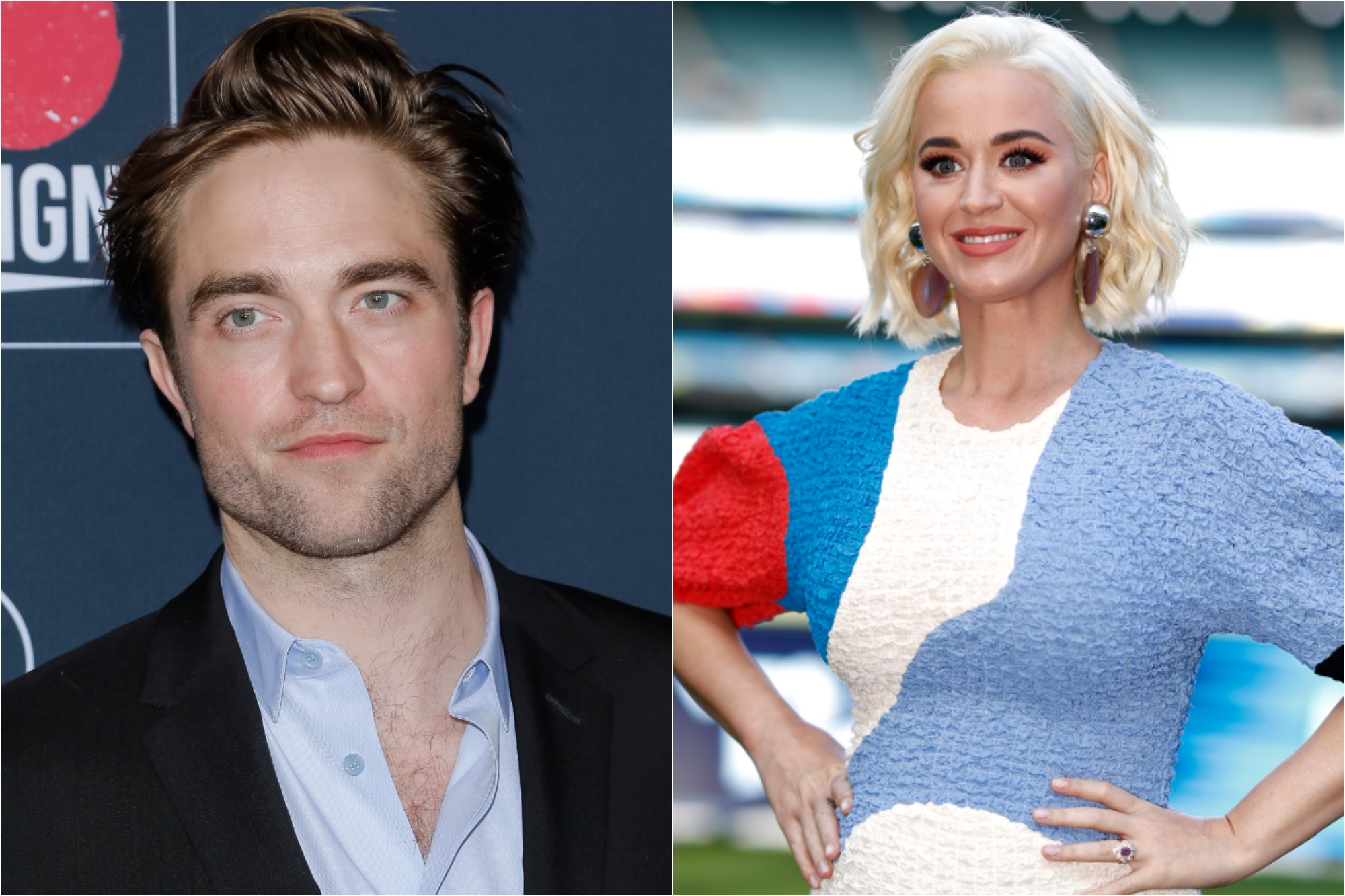 (L) Robert Pattinson at the Go Campaign's 13th Annual Go Gala at NeueHouse Hollywood on Nov. 16, 2019 / (R) Katy Perry at the 2020 ICC Women's T20 World Cup Media Opportunity at Melbourne Cricket Ground on March 07, 2020.