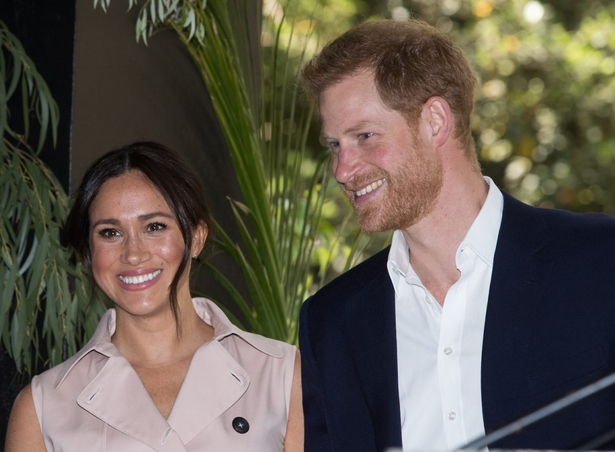 Prince Harry and Meghan Markle at a business reception at the British High Commissioner's Residence in  Johannesburg, South Africa